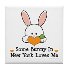 Some Bunny In New York Loves Me Tile Coaster