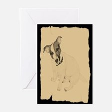Jack Russell Vintage Style Greeting Cards (Pk of 2