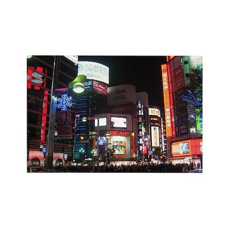Tokyo Nightlife Rectangle Magnet