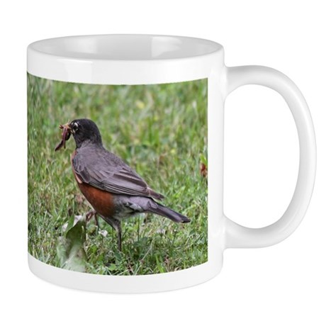 Robin with Worm Mug