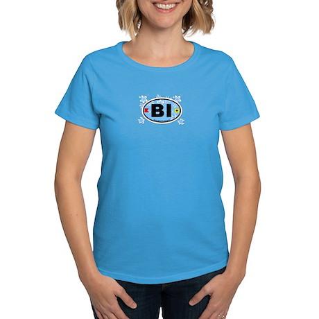 Block Island RI - Oval Design. Women's Dark T-Shir