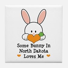 Some Bunny In North Dakota Tile Coaster