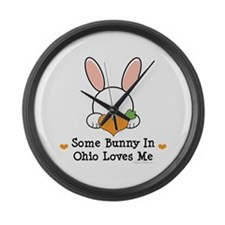 Some Bunny In Ohio Loves Me Large Wall Clock