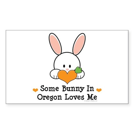 Some Bunny In Oregon Loves Me Sticker (Rectangle)