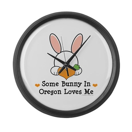 Some Bunny In Oregon Loves Me Large Wall Clock
