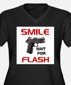 ARMED AND READY -- Women's Plus Size V-Neck Dark T
