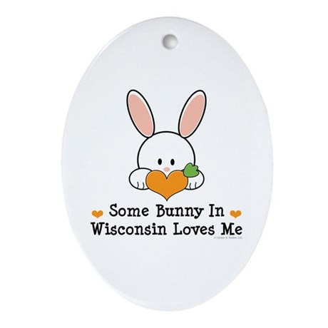 Some Bunny In Wisconsin Ornament (Oval)