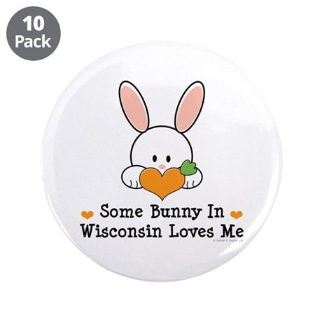 "Some Bunny In Wisconsin 3.5"" Button (10 pack)"