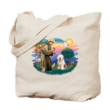 St Francis #2 / Old English (#6) Tote Bag