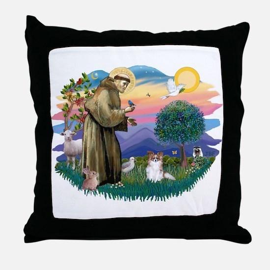 St. Francis #2 / Papillon (sw) Throw Pillow