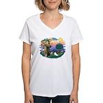 St. Francis #2 / Papillon Women's V-Neck T-Shirt
