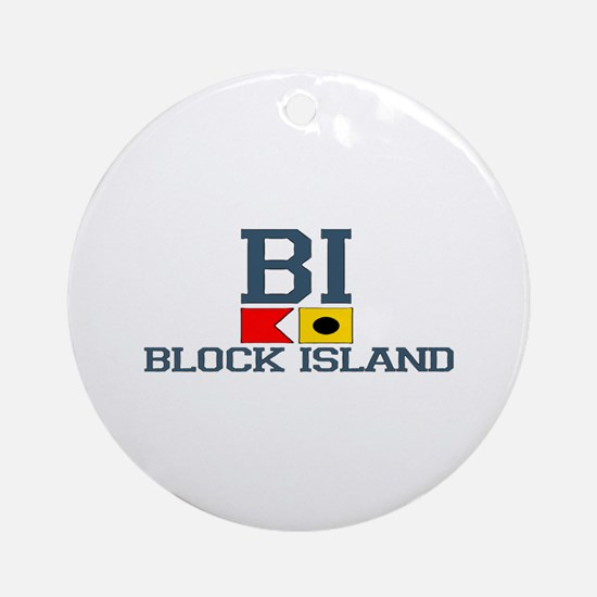 Block Island RI - Nautical Design Ornament (Round)