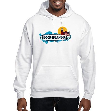 Block Island RI - Surf Design Hooded Sweatshirt