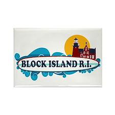 Block Island RI - Surf Design Rectangle Magnet