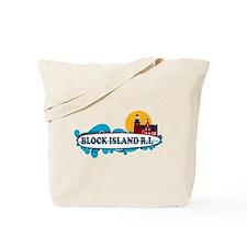 Block Island RI - Surf Design Tote Bag