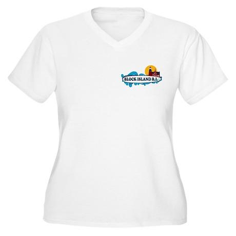 Block Island RI - Surf Design Women's Plus Size V-