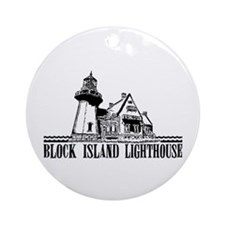 Block Island Lighthouse Design Ornament (Round)