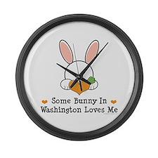 Some Bunny In Washington Large Wall Clock