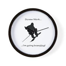 Screw Work-I'm Going Snowboarding Wall Clock