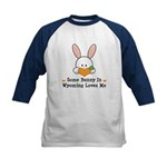 Some Bunny In Wyoming Loves Me Kids Baseball Jerse
