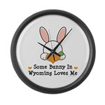 Some Bunny In Wyoming Loves Me Large Wall Clock