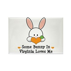 Some Bunny In Virginia Loves Me Rectangle Magnet (