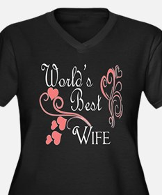 Best Wife (Pink Hearts) Women's Plus Size V-Neck D