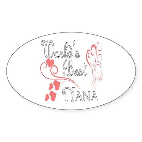 Best Nana (Pink Hearts) Sticker (Oval)