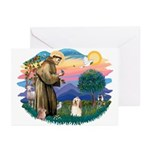 St Francis #2/ Havanese #1 Greeting Cards (Pk of 1