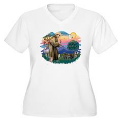 St Francis #2/ Pugs (2 black) T-Shirt