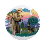St Francis #2 / Rottweiler Ornament (Round)