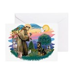 St Francis #2 / Rottweiler Greeting Cards (Pk of 2