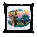 St Francis #2 / Rottweiler Throw Pillow