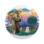 St Francis #2 / Maltese (C) Ornament (Round)