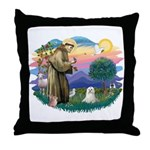 St Francis #2 / Maltese (C) Throw Pillow