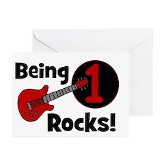 Being 1 Rocks! Guitar Greeting Cards (Pk of 20)