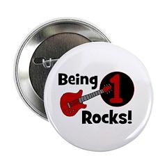 """Being 1 Rocks! Guitar 2.25"""" Button"""
