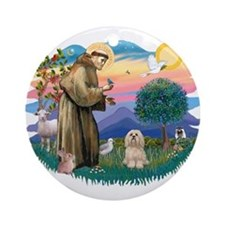 St Francis #2/ Lhasa Apso #9 Ornament (Round)