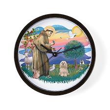 St Francis #2/ Lhasa Apso #9 Wall Clock