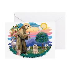 St Francis #2/ Lhasa Apso #9 Greeting Card