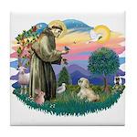 St Francis #2 / Lhasa Apso (R) Tile Coaster