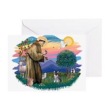 St Francis #2 /Schnauzer (min) Greeting Card