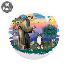 "St Francis #2/ Aus Shep (tri) 3.5"" Button (10 pack"
