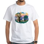 St Francis #2/ Aus Shep (tri) White T-Shirt