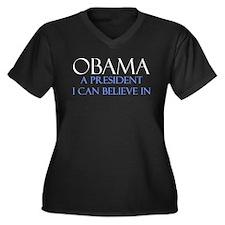 Believe in Obama Women's Plus Size V-Neck Dark T-S