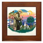 St. Francis #2 / Italian Greyhound Framed Tile
