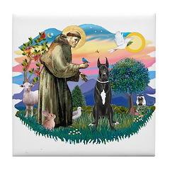 St. Fran. #2 / Great Dane (blk) Tile Coaster