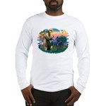St. Fran #2/ Blue Great Dane Long Sleeve T-Shirt