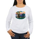 St. Fran #2/ Blue Great Dane Women's Long Sleeve T