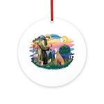 St. Fran #2/ Greyhound (lt.red) Ornament (Round)
